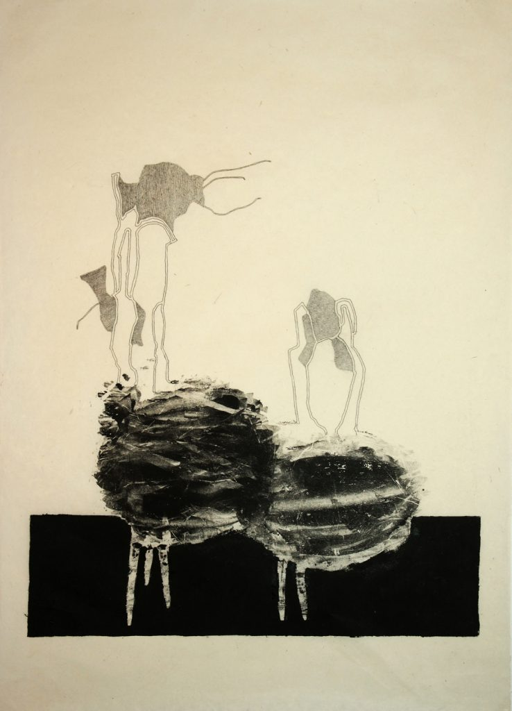 B monotype and pencil on japanese paper 78x62 cm