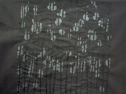 P_ink and pencil on black silk paper_20x30cm